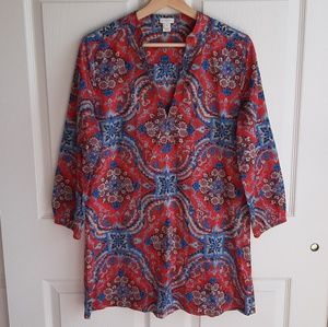 J Crew Red Blue Floral Banded Collar Tunic Size XS